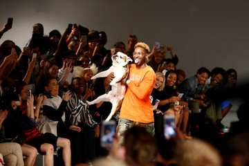 British rapper and designer Tinie Tempah appears on the catwalk following his What We Wear show at London Fashion Week Men's, in London