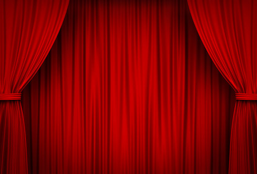 Red Stage Curtains . 3D rendering.