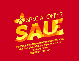 Vector Special Offer Sale logotype. Graphic Style Font. Orange abstract Alphabet Letters, Numbers and Symbols
