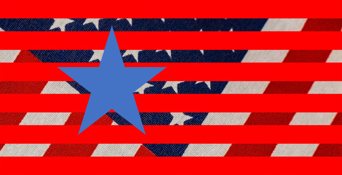 Stars and stripes background with woven flag in background and graphic stars and stripes and one perfect blue star in foreground