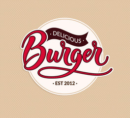 Burger round logo vector vintage label. Old style script writing. Calligraphy lettering vintage design for sign, menu, advertising. Red delicious burger text. EPS 10.