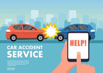 Vector illustration of two cars in accident.