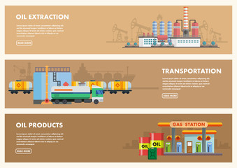 Oil industry concept. Flat style. Vector.