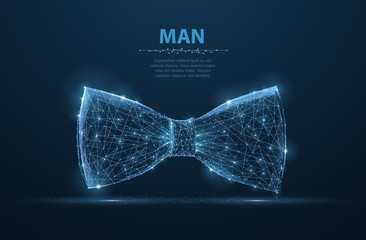 Vector man tie. Abstract design male suit cloth tie bow illustration on dark blue background with stars.