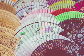 Traditional handicraft chinese fans at market in Yangshuo, China.