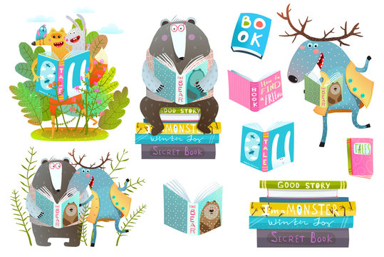 Cute forest animals friends with books studying. Vector illustration.