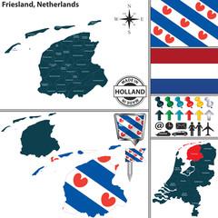 Map of Friesland, Netherlands