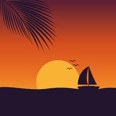 segelboot auf dem meer in der abenddämmerung