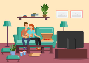 Cartoon couple eating pizza and drinking cocktails