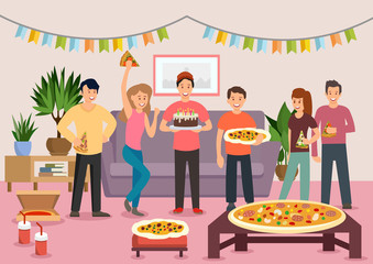 Cartoon group of cheerful people eating pizza