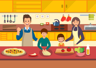 Happy cartoon family cooks pizza in kitchen.