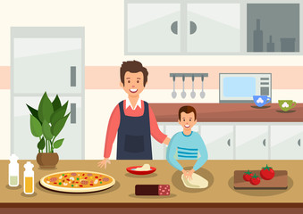 Cartoon father helps son to knead dough for pizza