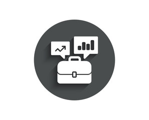 Business portfolio with Growth charts simple icon. Job Interview sign. Circle flat button with shadow. Vector