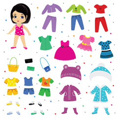 Paper doll vector dress up or clothing beautiful girl with fashion pants dresses or shoes illustration girlie set of female clothes for cutting hat or coat isolated on white background