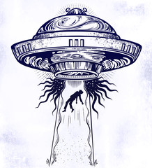 Fantastic Alien Spaceship. UFO abduction of a human with flying saucer icon.