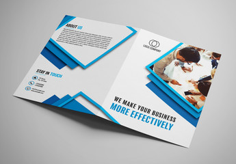 Bifold Brochure Layout with Blue Borders
