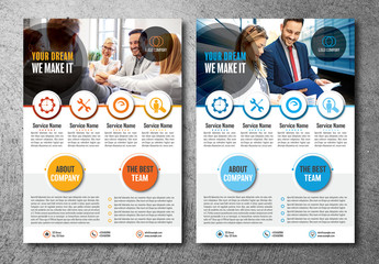 Flyer Layout with Colorful Circle Elements