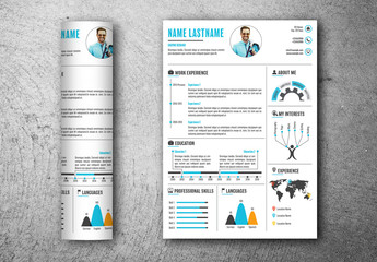 Resume Layout with Blue and Orange Accents