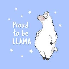 Cute cartoon lama, doodle vector illustration.