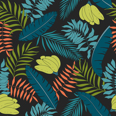 Tropical background with palm leaves and bananas. Seamless floral pattern. Summer vector illustration