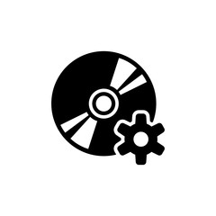 Disc Setting. Flat Vector Icon. Simple black symbol on white background
