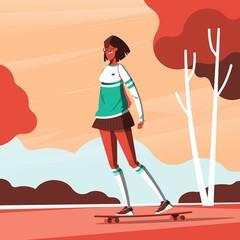 fashionable girl riding her skatebord