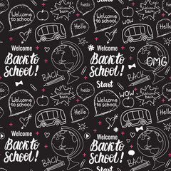 Welcome Back to school seamless pattern. Vector hand draw set elements on black chalk board.