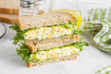 Wall Murals Snack Egg salad sandwich, greens, lettuce, delicious healthy Breakfast