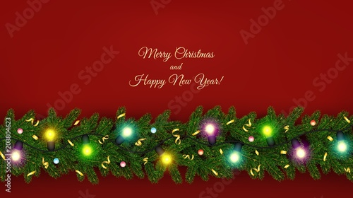 christmas and new year banner of realistic branches of christmas tree garland
