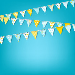 Vector holiday banner with colorful garlands of flags. Celebration background for invitation, festival, birthday