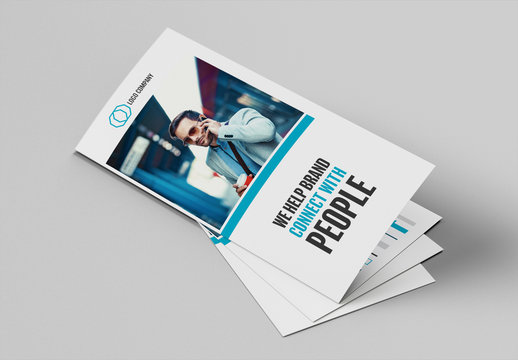 DL Brochure Layout with Blue Accents