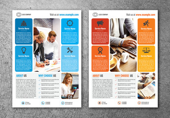 Business Flyer Layout with Colorful Block Elements
