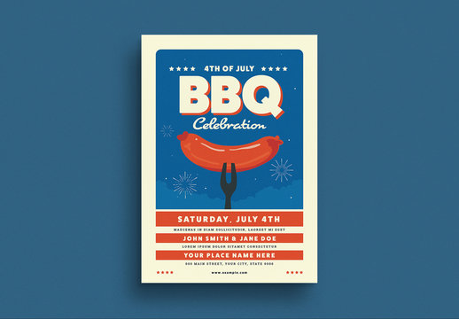 4th of July BBQ Party Flyer Layout