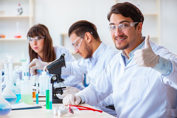 Team of chemists working in the lab