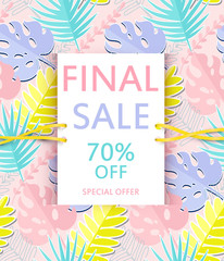 Sale banner, poster with exotic leaves.