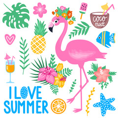 Vector summer set with pink flamingo, monstera leaf, tropical leaves flowers