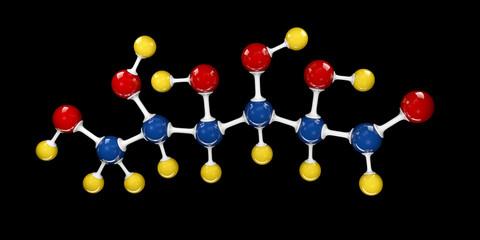 Molecule of glucose, molecular formula C6H12O6. 3d Illustration