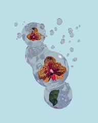 Orchideen in Wasserkugeln mit sprudelndem Wasserherzen auf blauem Hintergrund . 3d render
