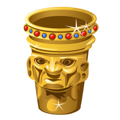 Ethnic Golden vase with human face isolated on a white background. Vector illustration.