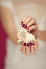 Beautiful woman hands with perfect pink nail polish holding little sea shell, summerly beach mood, can be used as background