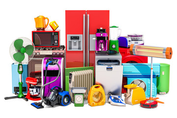 Set of colored kitchen and household appliances. 3D rendering