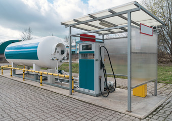 LPG gas station with white tank.