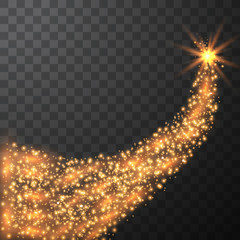 Burning fire on a transparent background. Neon blue and yellow star, glittering shine and bokeh lights. Flying kamet. Glowing light particles with a flash effect.