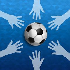 People hands together for soccer sport event