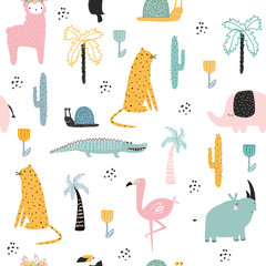 Seamless pattern with African animals and plants. Vector hand drawn illustration.