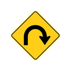 USA traffic road signs. hairpin curve ahead,extreme right curve. vector illustration