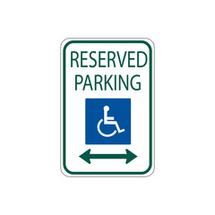 USA traffic road signs. disabled parking spot. vector illustration