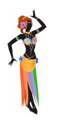 Ethnic dance of cartoon asian girl