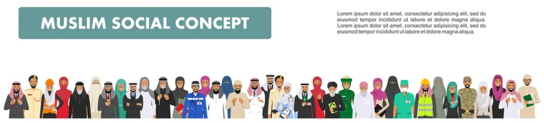 Social concept. Large group muslim arabic people professions occupation standing together in different suit and traditional clothes in flat style. Arab men and women in row. Vector illustration.