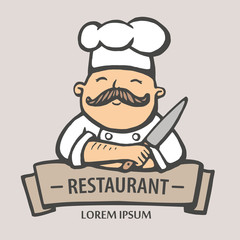 Restaurant logo. Hand drawn vector illustration of chief-cooker with a mustache and knife. chief-cooker logo.